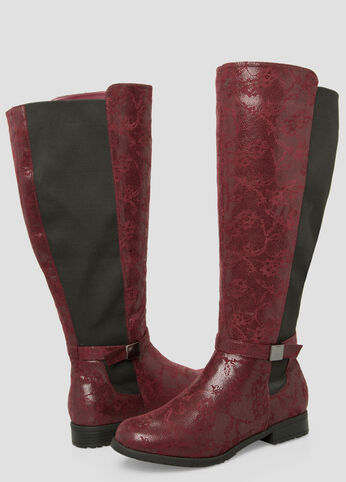 Floral Over The Knee Boot - Wide Calf Wide Width Wine - Clearance