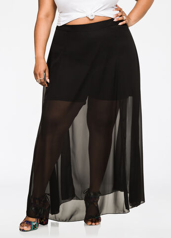 Sheer Georgette Maxi Skort Black - Bottoms