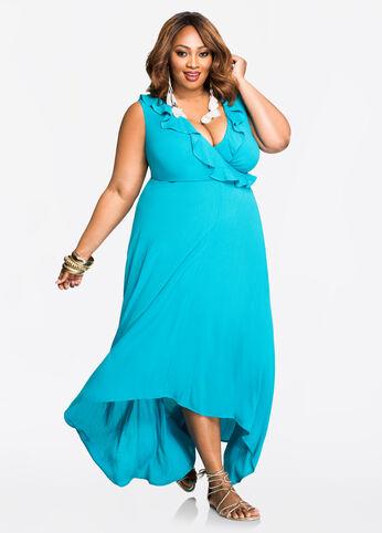 Solid Ruffle Top Hi-Lo Maxi Dress