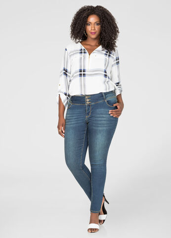Stacked 3-Button Skinny Jean