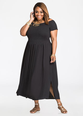 Smocked Top Off-Shoulder Maxi Dress Black - Dresses