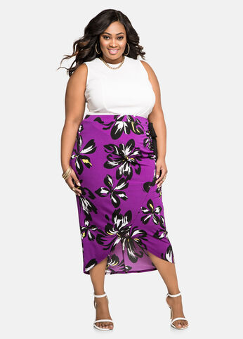 Hibiscus Wrap Front Midi Skirt Purple Magic - Bottoms