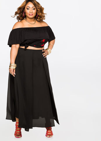 Chiffon Car Wash Maxi Skirt Black - Bottoms