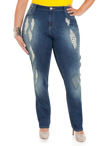 Spike Destructed Skinny Jeans