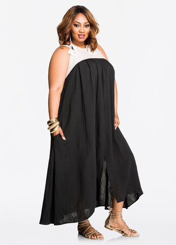 Linen Yoke Tie Back Maxi Dress Black - Dresses