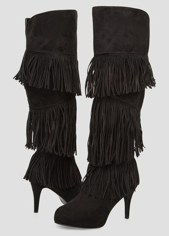 Fringe Knee High Boot - Wide Calf, Wide Width