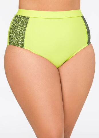 Neon Power Mesh Bikini Bottom Citron Lime - Swim