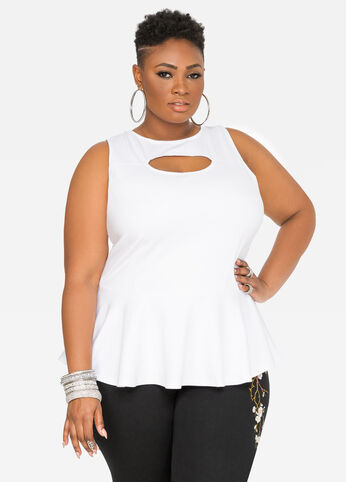 Cut-Out Peplum Top White - Tops