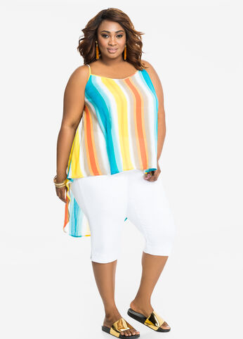 Watercolor Striped Hi-Lo Top