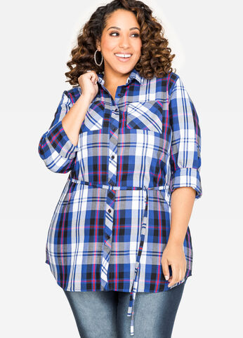 Belted Plaid Tunic