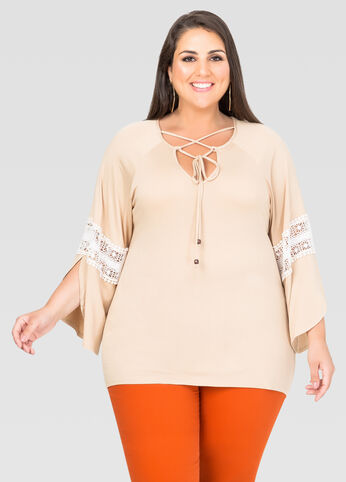 Slit Sleeve Eyelet Peasant Top