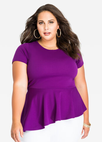 Asymmetrical Solid Short Sleeve Peplum Top