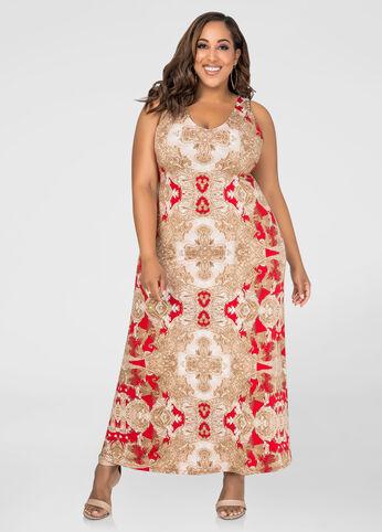 Deep V Paisley Maxi Dress