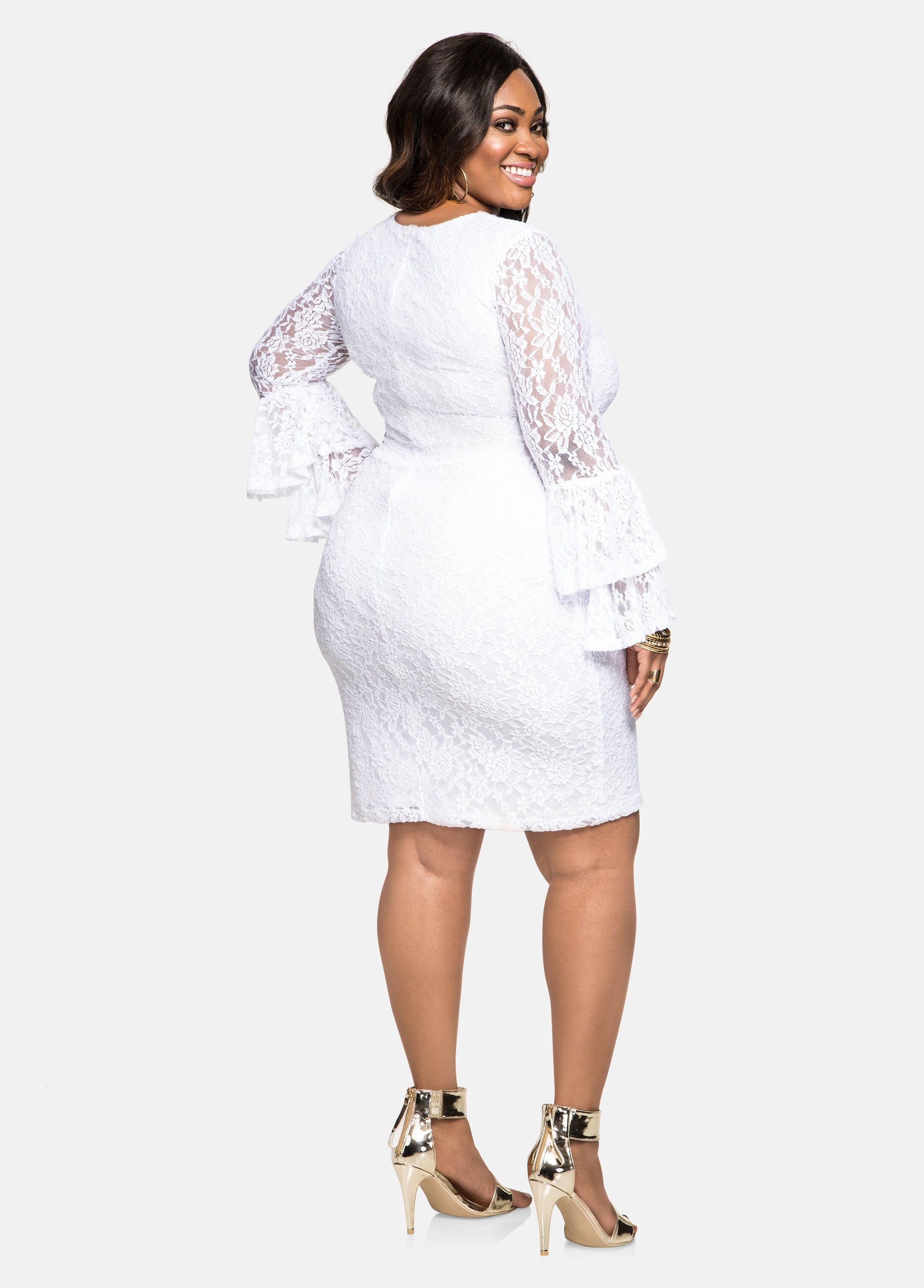 Plus Size Dresses - Tiered Bell Sleeve Lace Overlay Dress