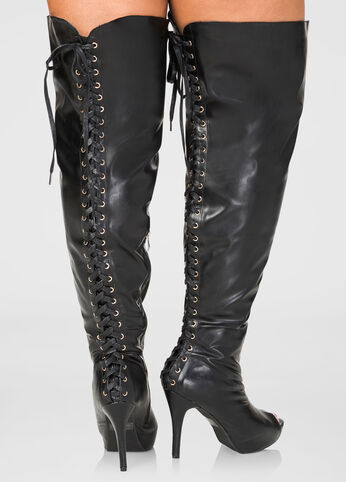 Lace-Up Over The Knee Boots - Wide Calf, Wide Width