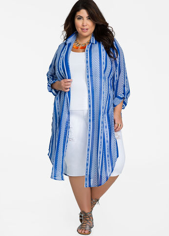 Open Front Tribal Stripe Sheer Tunic Medieval Blue - Tops