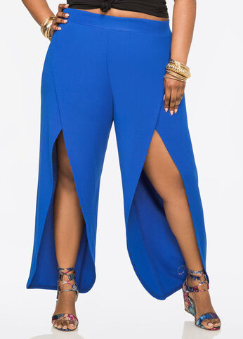 Scuba Crepe Pant with Open Sides Victoria Blue - Bottoms