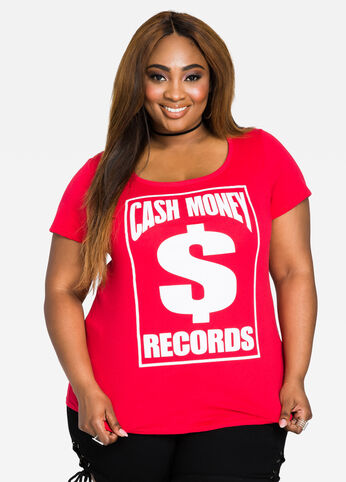Cash Out Hip Hop Graphic Tee - Red