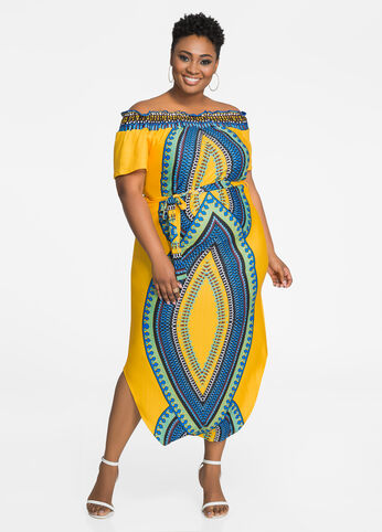 Off-Shoulder Dashiki Maxi Dress