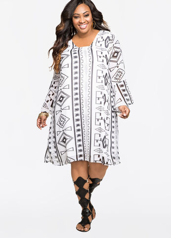 Graphic Floater Dress Black White - Clearance