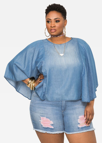Flutter Sleeve Denim Poncho Top