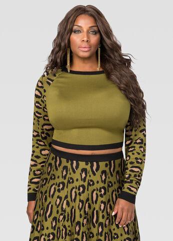 Leopard Crop Top Sweater