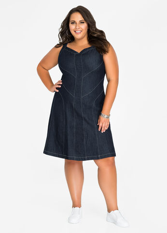 Multi Seamed Fit N Flare Jean Dress