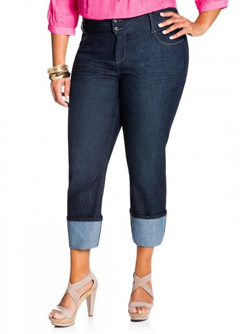 Rolled Cuffed Denim Capri