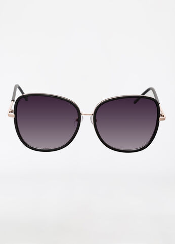 Square Frame Sunglasses with Metal Detail