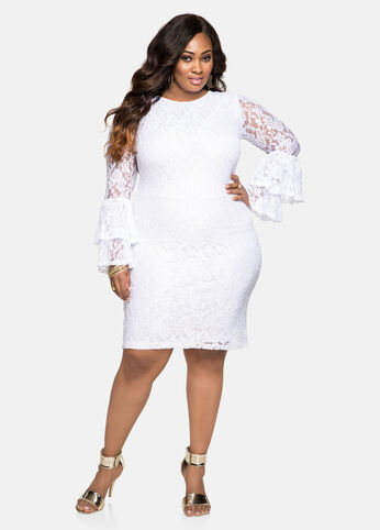 Tiered Bell Sleeve Lace Overlay Dress White - Dresses