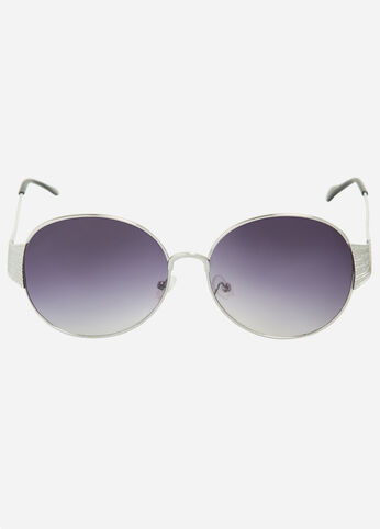 Temple Detail Round Sunglasses