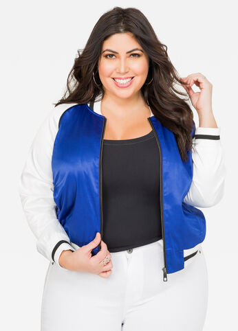 Two Tone Sateen Baseball Jacket Victoria Blue - Outerwear
