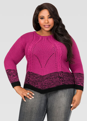 Marled Colorblock Pointelle Sweater