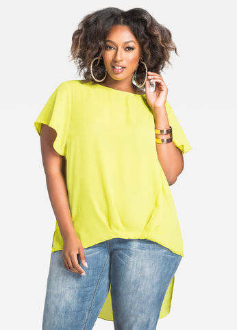 Hi-Lo Bubble Top with Flutter Sleeves Mandalay Lime - Tops