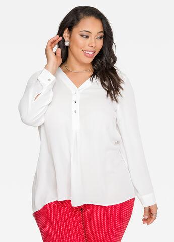 Split Back Tunic Blouse White - Shirts