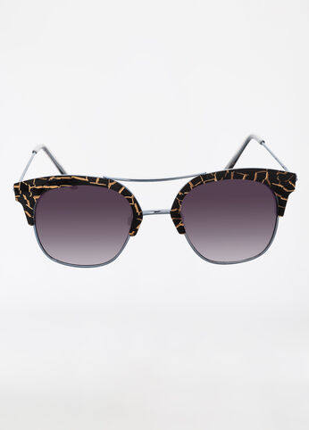 Giraffe Print Semi-Rimless Sunglasses Black Combo - Accessories