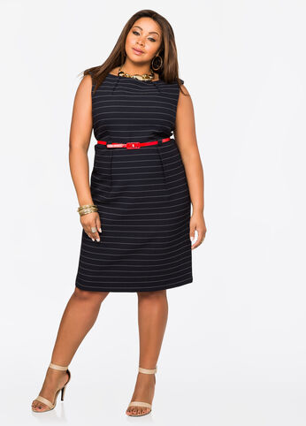Belted Stripe Textured Shift Dress