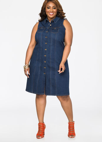 Boyfriend Pocket Denim Dress - Dresses