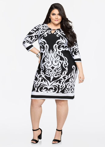Mixed Print Tunic Dress