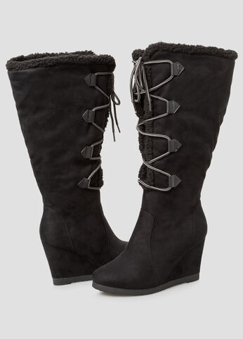 Shearling Lined Tall Boot - Wide Calf, Wide Width Black - Shoes
