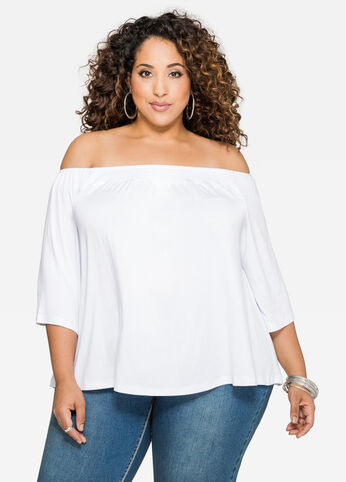Off-Shoulder Smocked Tee