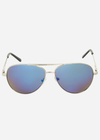 Gradient Mirror Lens Aviator Sunglasses