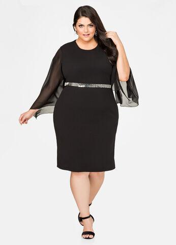 Belted Chiffon Sleeve Dress