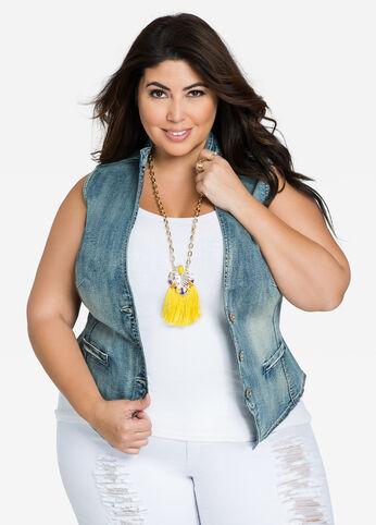 Mandarin Collar Sleeveless Jean Vest