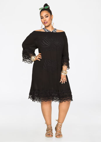 Gauze Off-Shoulder Cover-Up