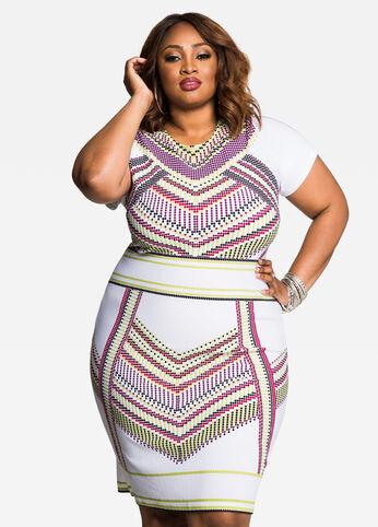 Chevron Print Short Sleeve Dress