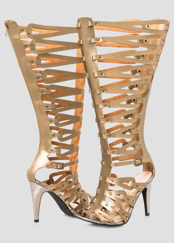 Caged Tall Gladiator Sandal - Wide Calf, Wide Width Bronze - Shoes