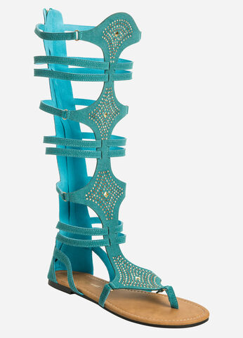Studded Gladiator Sandal - Wide Calf, Wide Width Green - Shoes