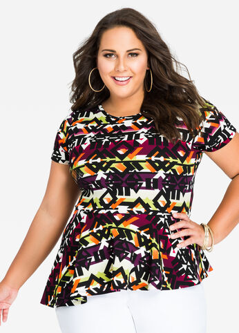 Asymmetrical Tribal Short Sleeve Peplum Top