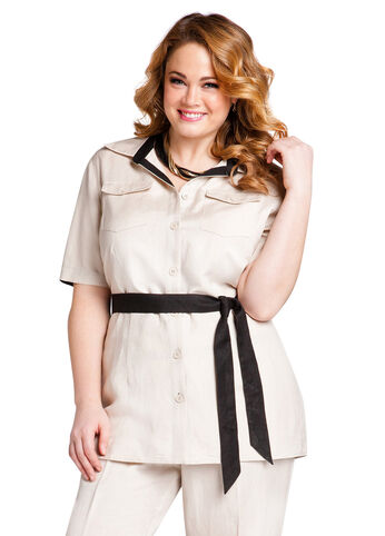 Bisque Linen Belted Blouse
